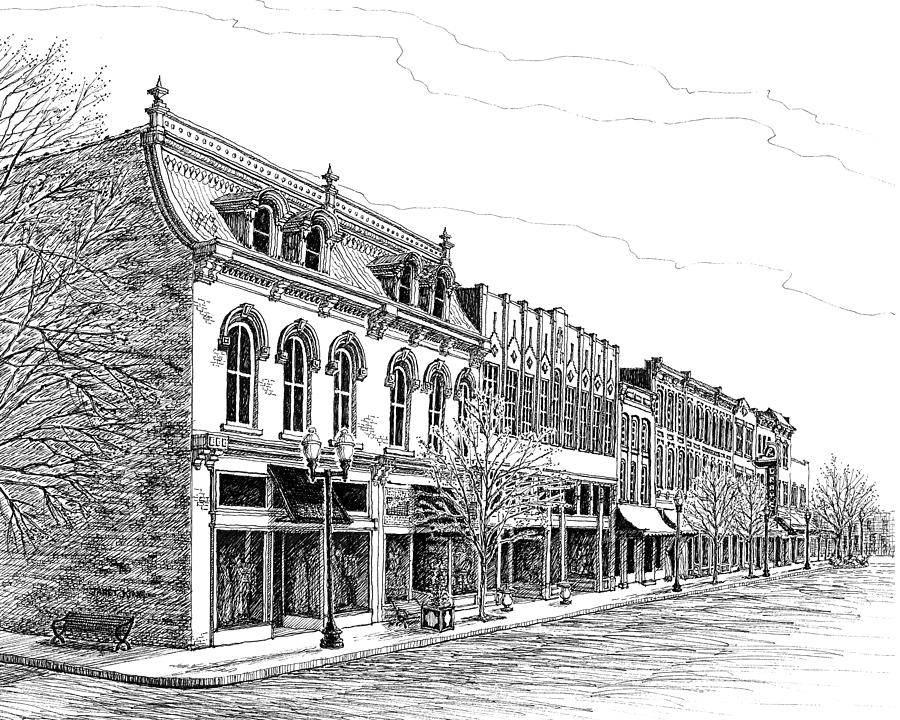 Franklin Main Street Drawing By Janet King