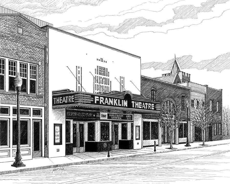 Downtown Franklin Tn >> Franklin Theatre In Franklin Tn Drawing by Janet King