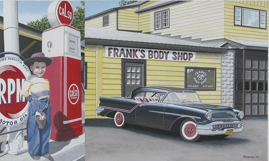 Franks body shop painting by john houseman for Frank s auto body