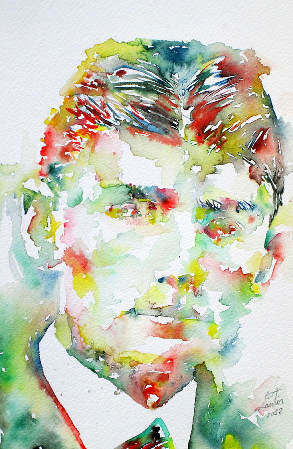 Franz Painting - Franz Kafka Watercolor Portrait.2 by Fabrizio Cassetta