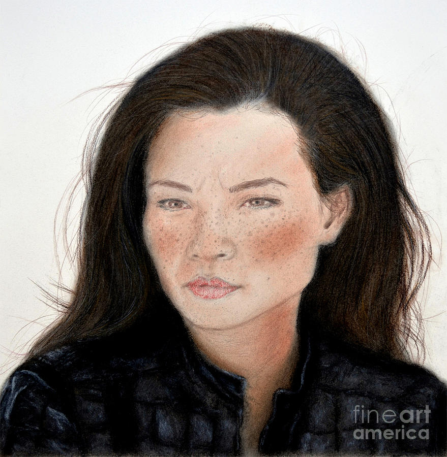 Drawing Drawing - Freckle Faced Beauty Lucy Liu Remake by Jim Fitzpatrick