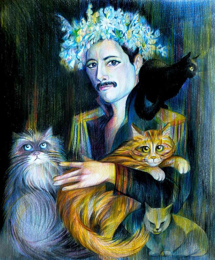 Music Collection Drawing - Freddie Mercury by Anna  Duyunova