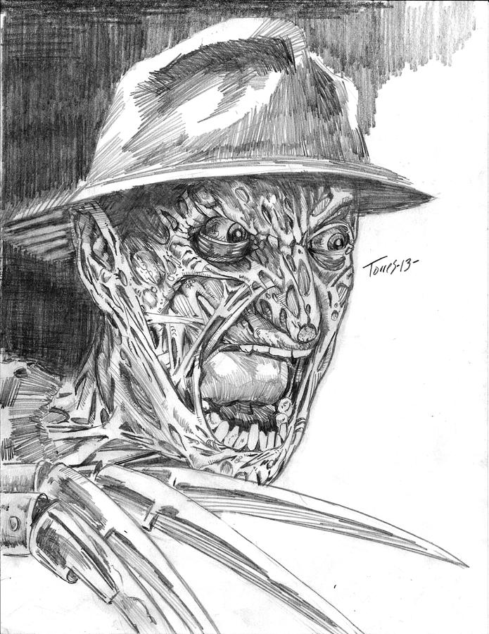 Horror Drawing - Freddy by Christopher Torres