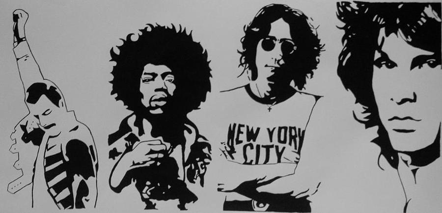 Freddy Mercury Jimi Hendrix John Lennon And James Morrison Painting