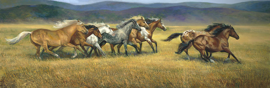 Horse Painting - Free and Wild by Laurie Snow Hein