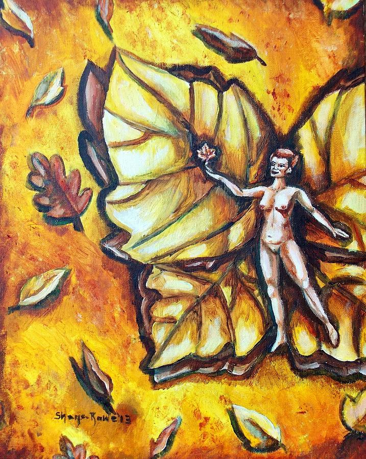 Fairy Painting - Free As Autumn Leaves by Shana Rowe Jackson