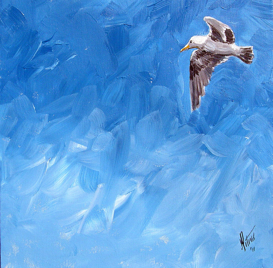 Seagull Painting - Free Bird by Gregory Peters