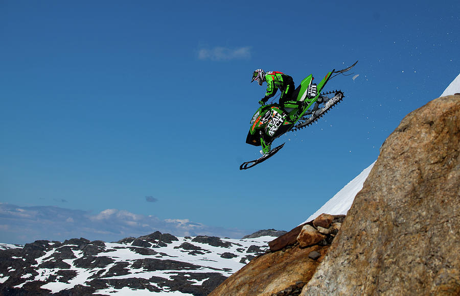 Snowmobile Photograph - Free Fall by Christian Otnes