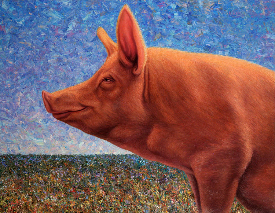 Pig Painting - Free Range Pig by James W Johnson