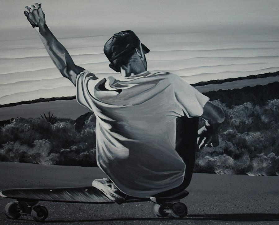 Skateboard Painting - Free Ride by Jessi Smith