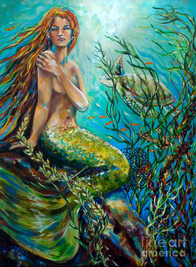 Mermaid Painting - Free Spirit by Linda Olsen