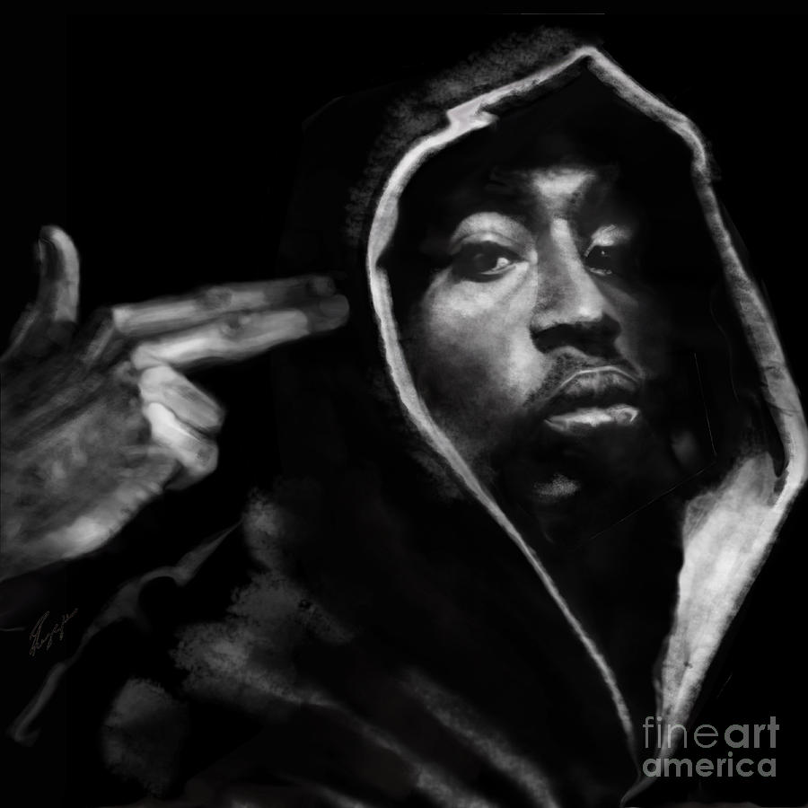 2 Pac Painting - Free Will - 2 Pac by Reggie Duffie