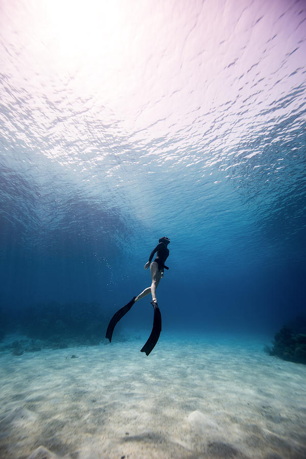 Freediving Photograph - Freediver by One ocean One breath