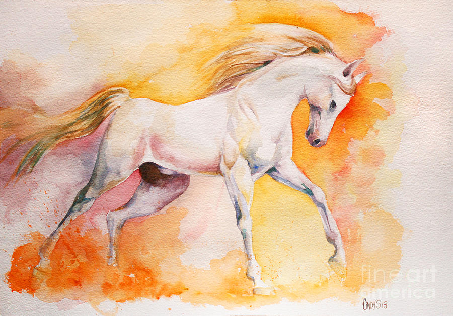 Horse Painting - Freedom by Tamer and Cindy Elsharouni