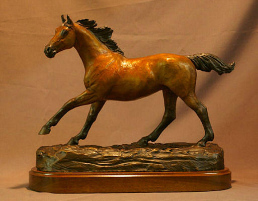 Running Horse Statue Sculpture - Freedom Galloping Thoroughbred Stallion Bronze Sculpture by Kim Corpany