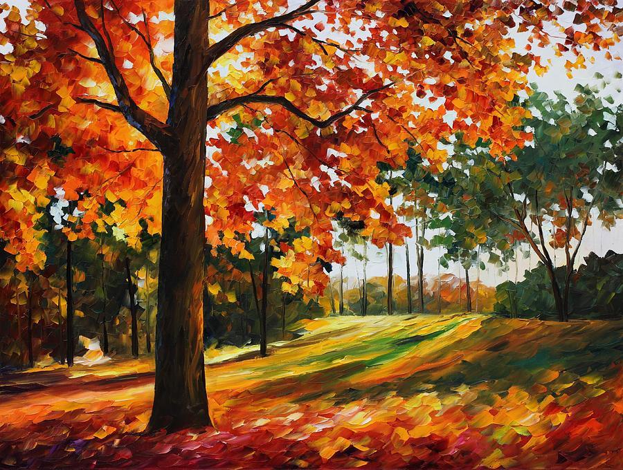 Leonid Afremov Painting - Freedom Of Autumn - Palette Knife Oil Painting On Canvas By Leonid Afremov by Leonid Afremov