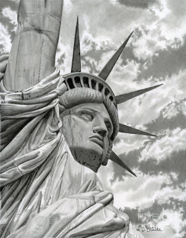 Statue Of Liberty Drawing - Freedom by Sarah Batalka