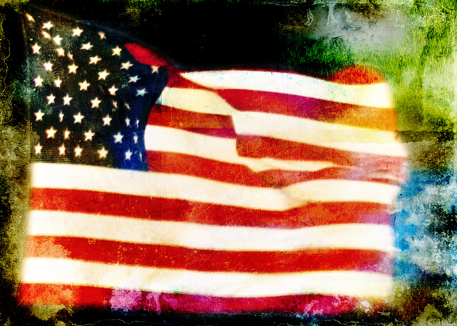 Distressed Flags Photograph - Freedom by Steven  Michael