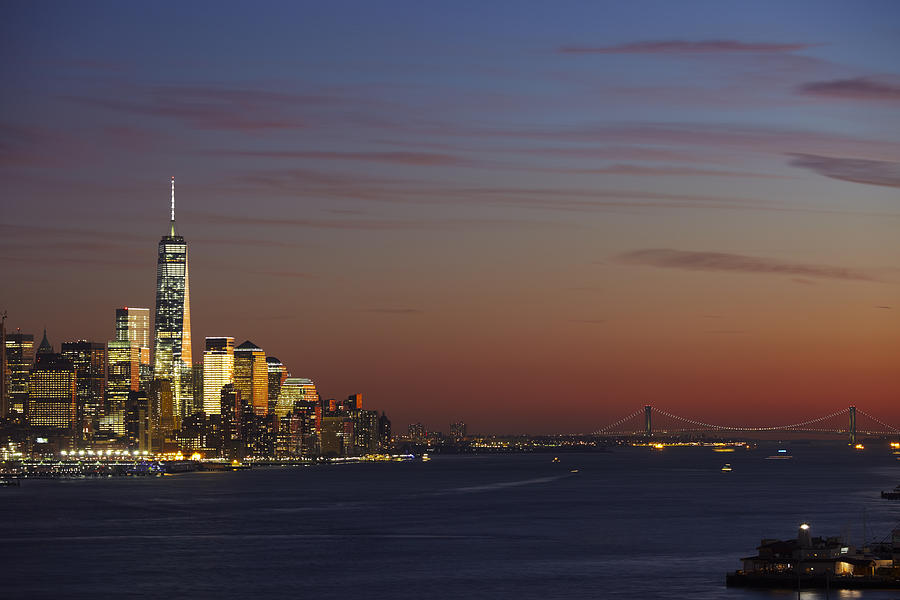 Freedom Tower Photograph - Freedom Tower And Lower Manhattan On The Hudson At Night by Alex Llobet