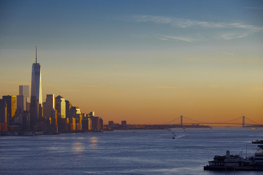 Freedom Tower Photograph - Freedom Tower And Lower Manhattan On The Hudson by Alex Llobet