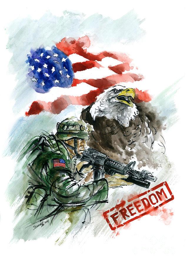 Soldier Painting - Freedom Usarmy by Mariusz Szmerdt