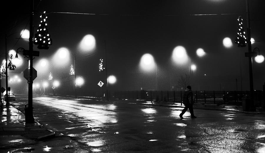 Black And White Photograph - Freeport Illinois New Years Eve 2010 by Jon Van Gilder
