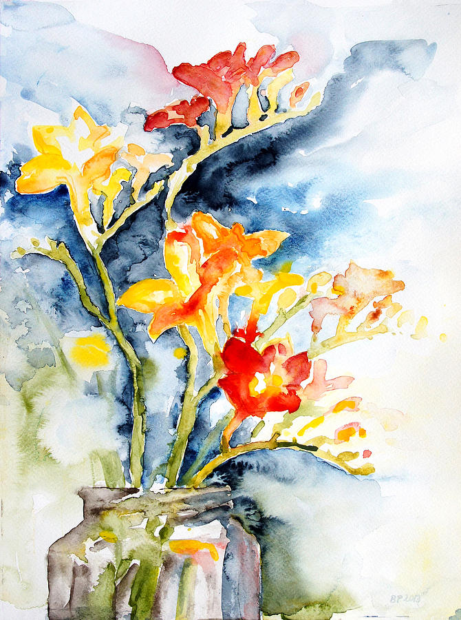 Freesia In A Pickle Jar Painting by Barbara Pommerenke