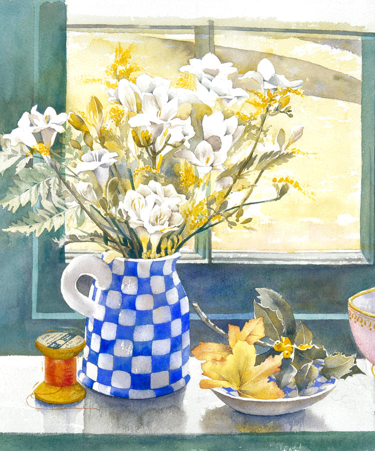 Julia Rowntree Photograph - Freesias And Chequered Jug by Julia Rowntree