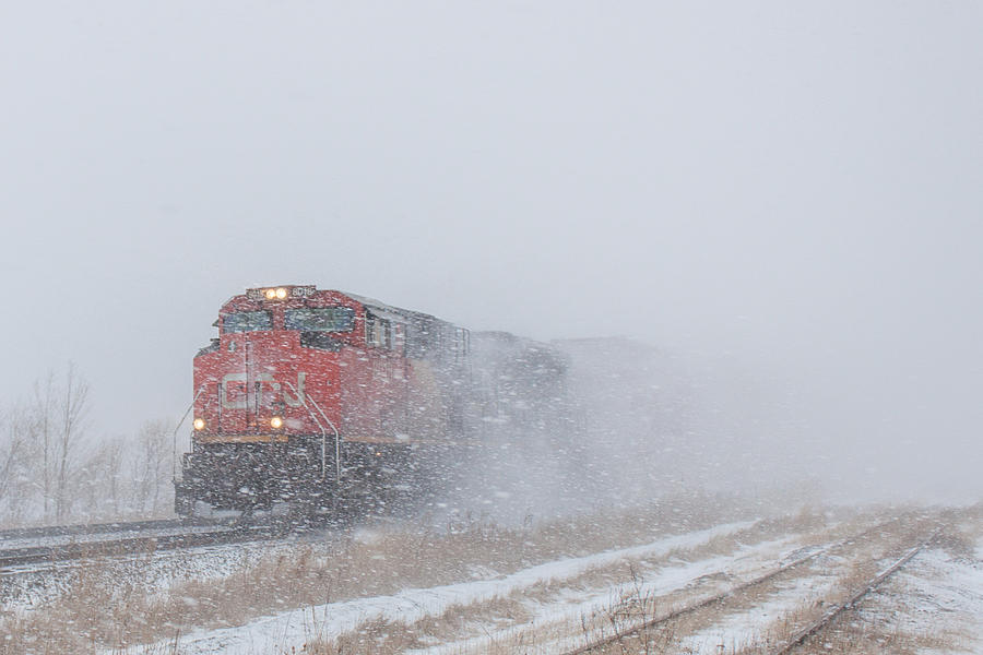 Snow Photograph - Train In Blizzard Snow by Steve Boyko