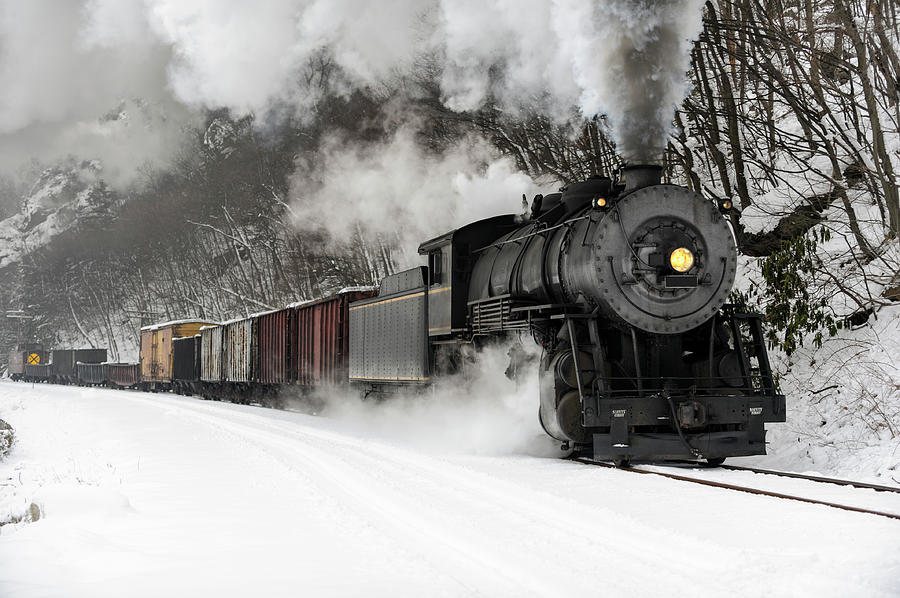 Freight Train With Steam Locomotive Photograph by Catnap72