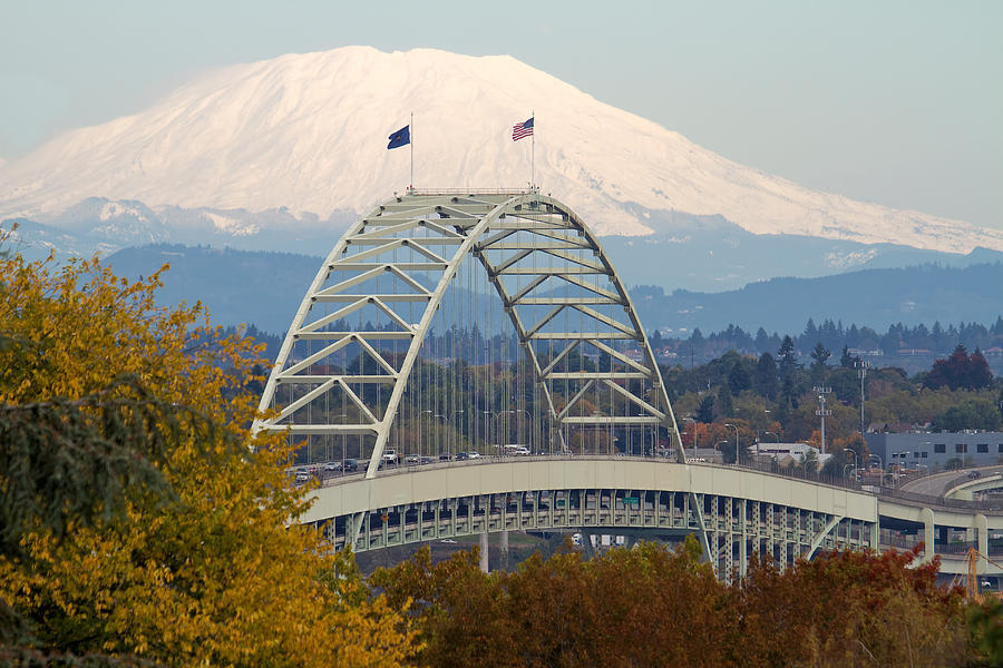 Fremont Photograph - Fremont Bridge And Mount Saint Helens by David Gn