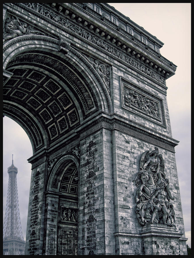 The Eiffel Tower Photograph - French - Arc De Triomphe And Eiffel Tower II by Lee Dos Santos