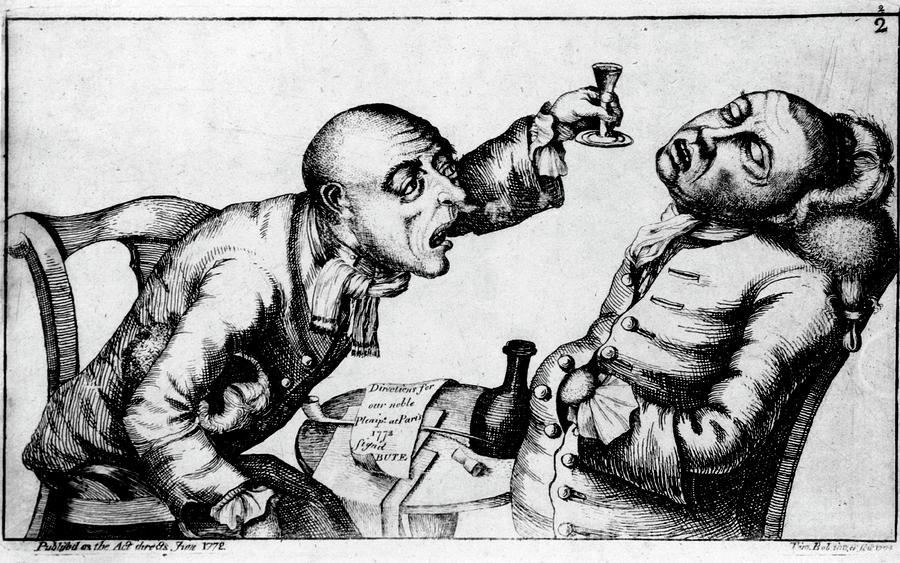 Alcoholism Photograph - French 18th Century Engraving Of Two Alcoholics by National Library Of Medicine/science Photo Library