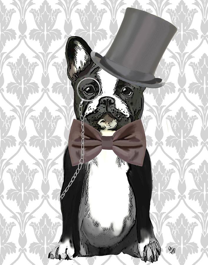 French Framed Prints Digital Art - French Bulldog Monsieur Bulldog by Kelly McLaughlan