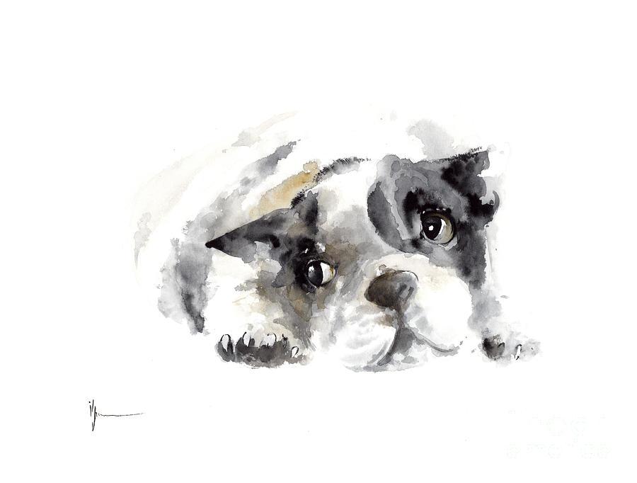 French Bulldog Original Artwork Painting By Joanna Szmerdt