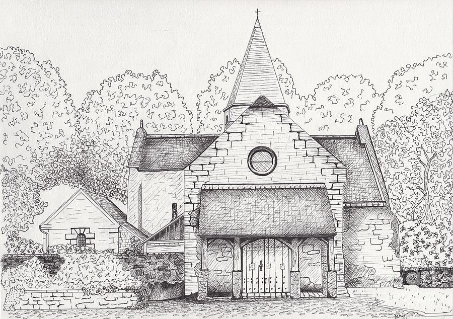 Rural Church Drawing - French Church by Michelle Welles