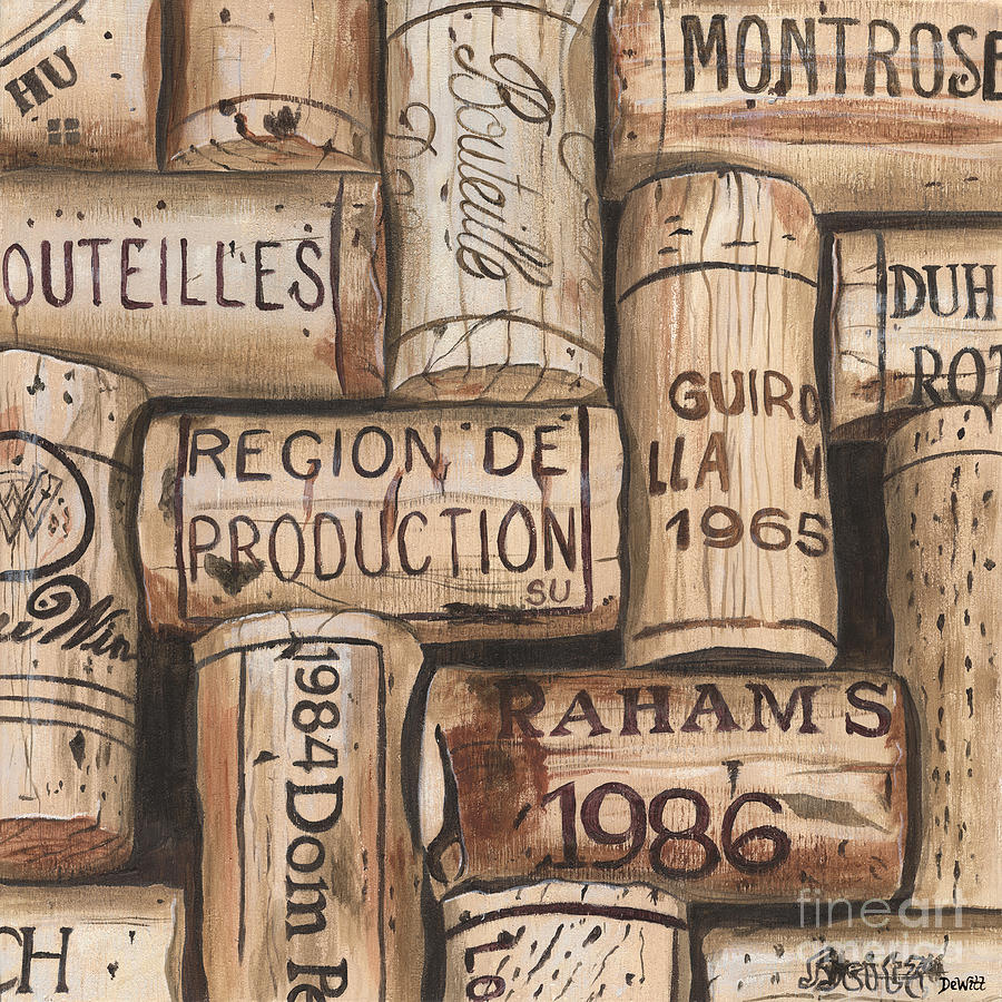 Alcohol Painting - French Corks by Debbie DeWitt