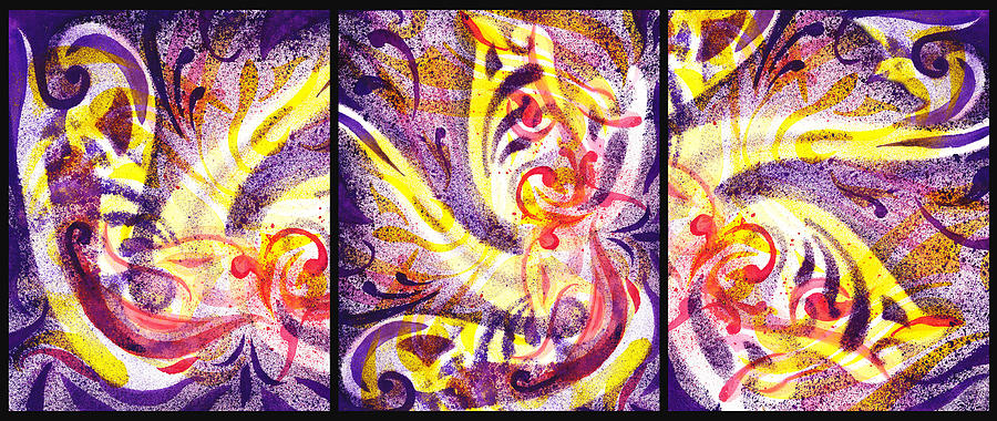 Abstract Painting - French Curve Abstract Movement Vii Happy Trio by Irina Sztukowski