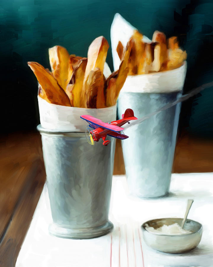 French Fries Painting - French Fries Fly-by by Snake Jagger