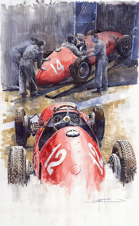 Watercolour Painting - French Gp 1952 Ferrari 500 F2 by Yuriy  Shevchuk