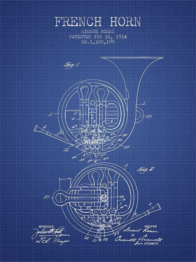 French horn patent from 1914 blueprint digital art by aged pixel french horn digital art french horn patent from 1914 blueprint by aged pixel malvernweather Image collections