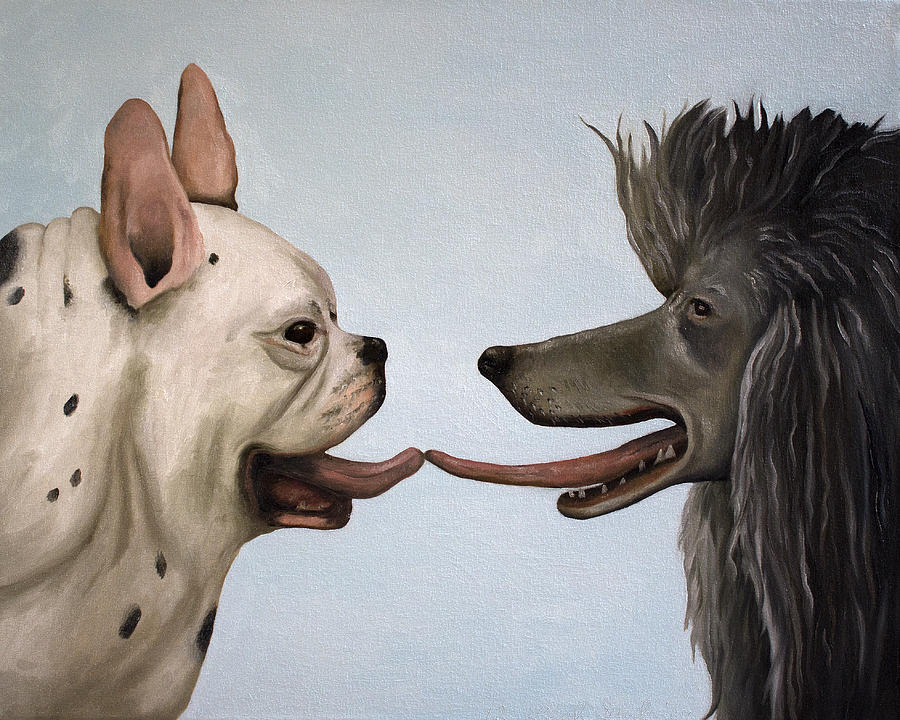 French Bull Dog Painting - French Kiss by Leah Saulnier The Painting Maniac