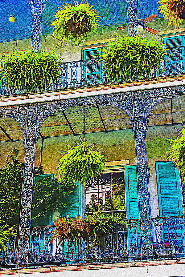 Architecture Digital Art - French Quarter Balcony 1 by David Doucot