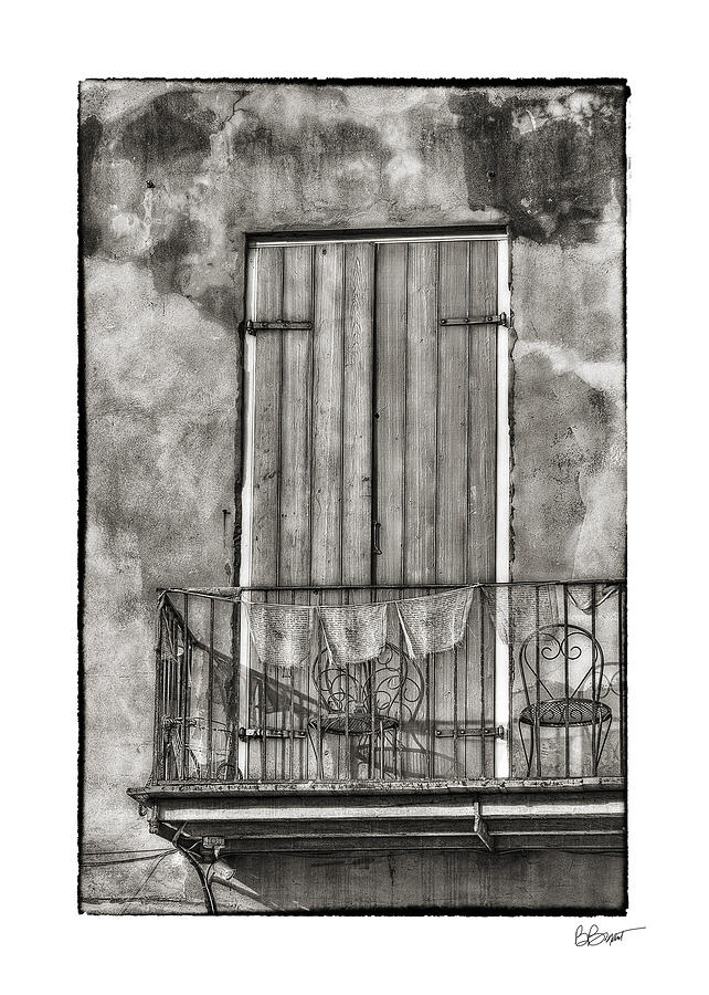 Door Photograph - French Quarter Balcony In Black And White by Brenda Bryant