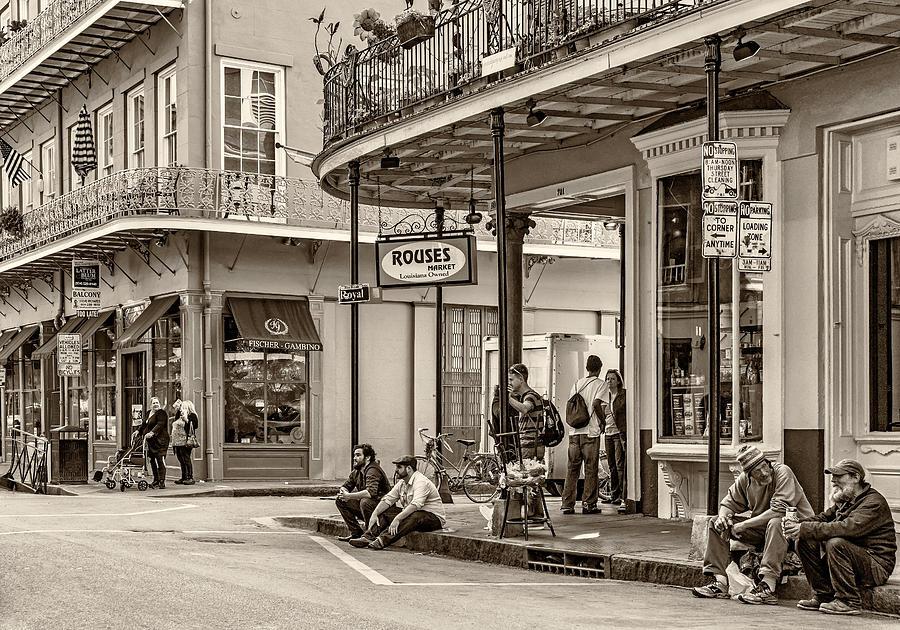 La Photograph - French Quarter - Hangin Out Sepia by Steve Harrington