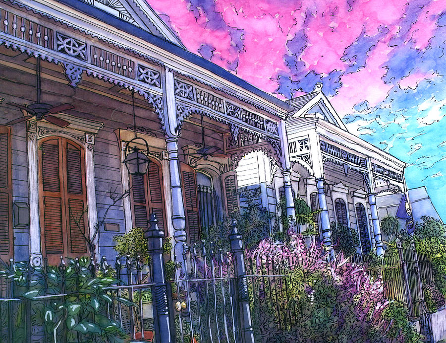 French Quarter Painting - French Quarter Houses 377 by John Boles