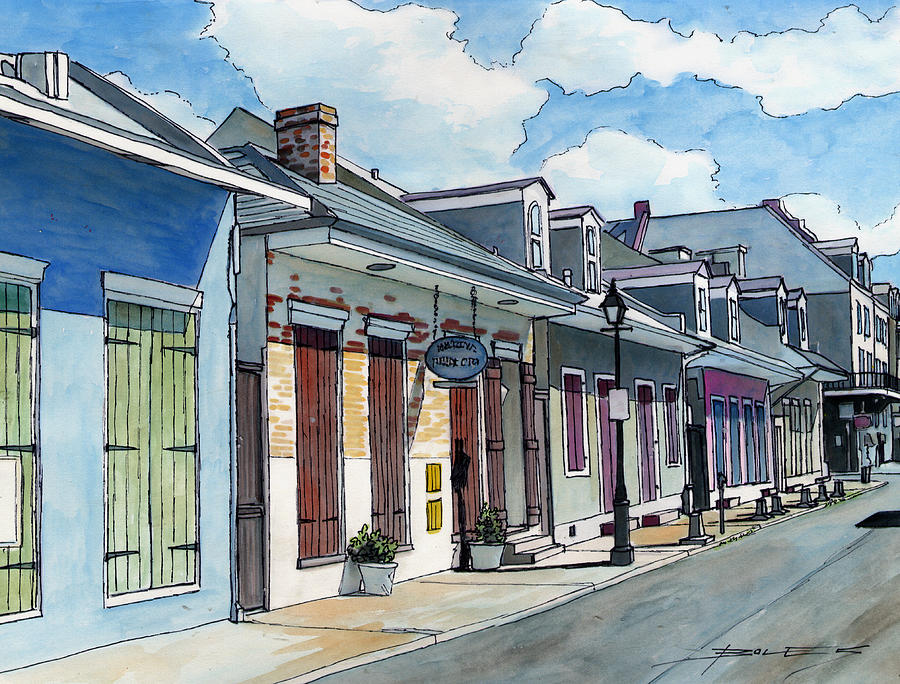 New Orleans Painting - French Quarter Street 211 by John Boles