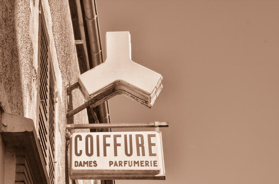 Coiffure Photograph - French Sign Toned by Georgia Fowler