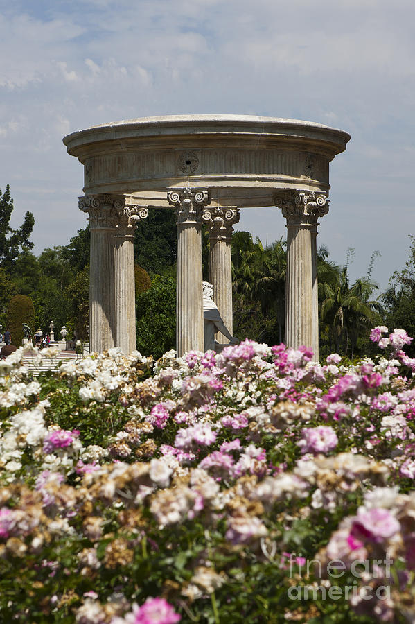 French Stone Tempietto And Statue Rose Garden At Huntington Library Photograph By Jason O Watson
