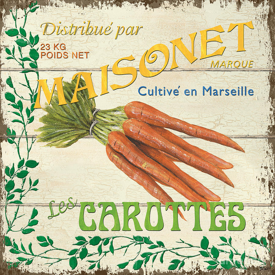 Carrots Painting - French Veggie Sign 2 by Debbie DeWitt